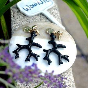 New black coral seaweeds long dangling earrings